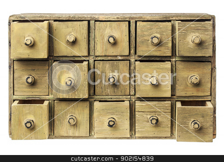 primitive drawer cabinet stock photo, primitive wooden apothecary or catalog cabinet with partially open drawers - storage or sorting concept by Marek Uliasz
