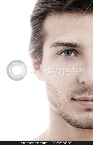 Charming and handsome man half face stock photo, Charming and handsome man half face close up by yekostock