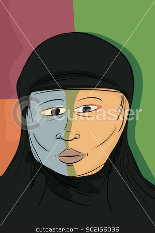 Abstract Muslim Woman stock vector clipart, Abstract portrait of serious Muslim woman in black hijab by Eric Basir