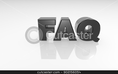 3d reflection FAQ text stock photo, 3d lettering with reflection on a white background by Jeremy Baumann