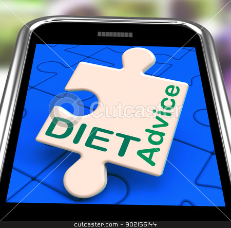 Diet Advice On Smartphone Showing Healthy Diets stock photo, Diet Advice On Smartphone Showing Healthy Diets And Weight Loss by stuartmiles
