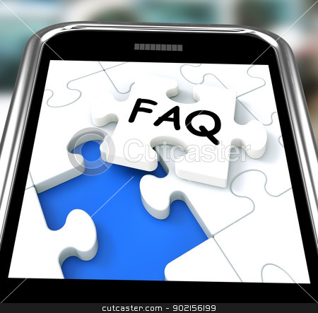 FAQ On Smartphone Showing Website's Questions stock photo, FAQ On Smartphone Showing Website's Questions And Support by stuartmiles
