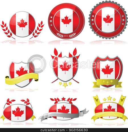 Canada badges stock vector clipart, Illustration collection of glossy badges with the flag of Canada by Bruno Marsiaj