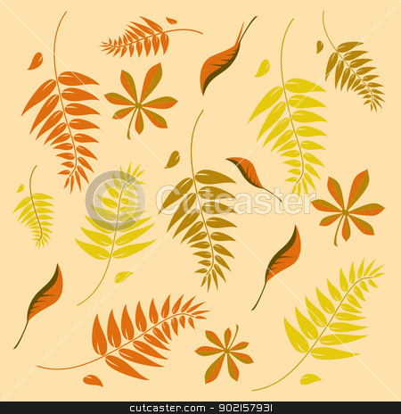 A seamless autumn background with different shaped leaves stock vector clipart, A seamless autumn background with different shaped leaves in various autumn browns. Can be infinitely tiled in all directions by Mike Price