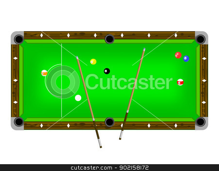 Vector Illustration of a pool table with cues and pool balls stock vector clipart, Vector Illustration of a pool table with cues and pool balls isolated on white by Mike Price