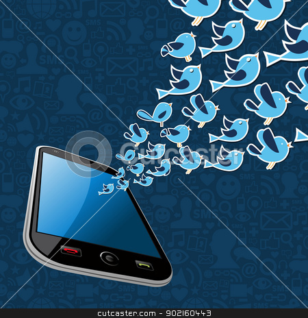 Twitter birds splash out smartphone application stock vector clipart, Social media mobile network connection concept. Vector illustration layered for easy manipulation and custom coloring. by Cienpies Design