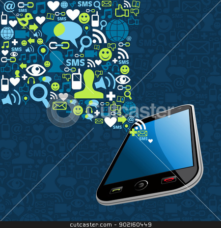 Smartphone social icons mobile splash stock vector clipart, Social media network connection icons set mobile splash. Vector illustration layered for easy manipulation and custom coloring. by Cienpies Design