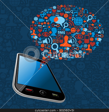 Social media bubble smart phone stock vector clipart, Social media network connection concept. Vector illustration layered for easy manipulation and custom coloring. by Cienpies Design