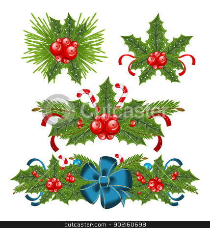 Set holly berry sprigs for christmas decorations stock vector clipart, Illustration set holly berry sprigs for christmas decorations - vector by -=Mad Dog=-