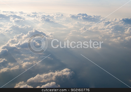 View at clouds stock photo, View above the earth at the clouds below by Aikon