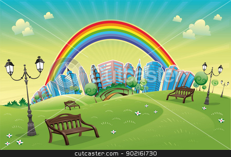 Park with rainbow. stock vector clipart, Park with rainbow. Funny cartoon and vector scene. by ddraw
