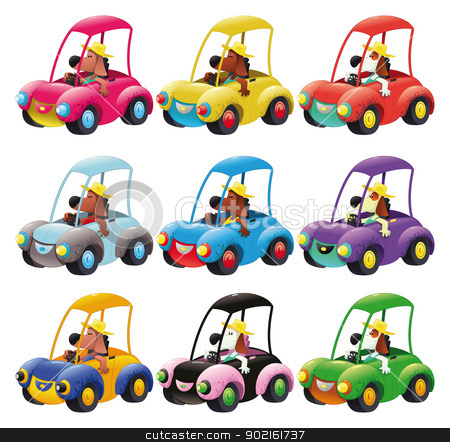Cars group guided by dog. stock vector clipart, Cars group guided by dog. Funny cartoon and vector isolated objects by ddraw