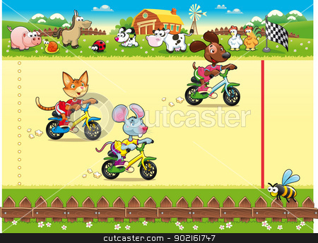 Competition in Farm. stock vector clipart, Competition in Farm. Cartoon and vector illustration, isolated objects by ddraw
