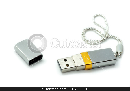 silver usb flash  stock photo, silver usb flash  on white background  by Vitaliy Pakhnyushchyy