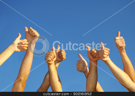 hands stock photo, Group of people hands in the sky by Vitaliy Pakhnyushchyy
