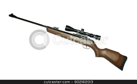 rifle stock photo, Modern military sniper rifle isolated on white by Vitaliy Pakhnyushchyy