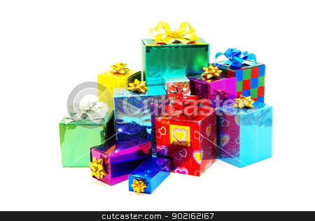 christmas box  stock photo, Christmas box gifts with satin bow isolated on white background by Vitaliy Pakhnyushchyy