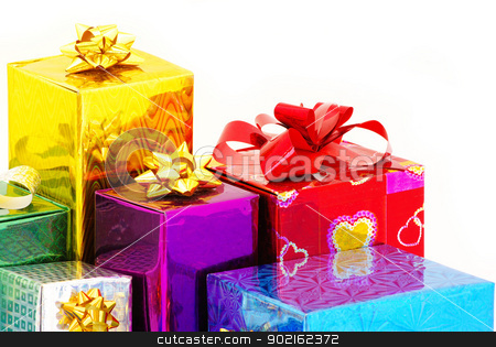 Christmas box gifts  stock photo, Christmas box gifts with satin bow isolated on white background by Vitaliy Pakhnyushchyy