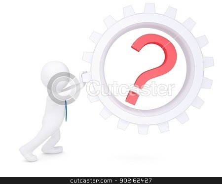 3d man rotate the pinion with a question stock photo, 3d man rotate the pinion with a question. Isolated render on a white background by cherezoff