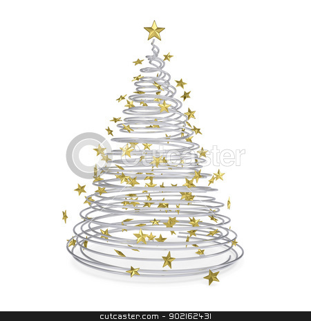 3D Christmas tree made of metal spirals and gold stars stock photo, 3D Christmas tree made of metal spirals and gold stars. Isolated render on a white background by cherezoff