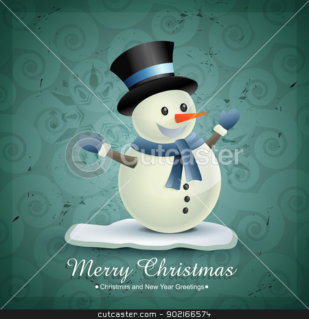 winter snowman stock vector clipart, vector christmas winter snowman design illustration by pinnacleanimates