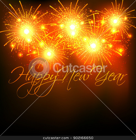 new year fireworks celebration stock vector clipart, vector new year celebration with fireworks by pinnacleanimates