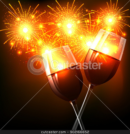 new year celebration stock vector clipart, vector new year celebration background by pinnacleanimates