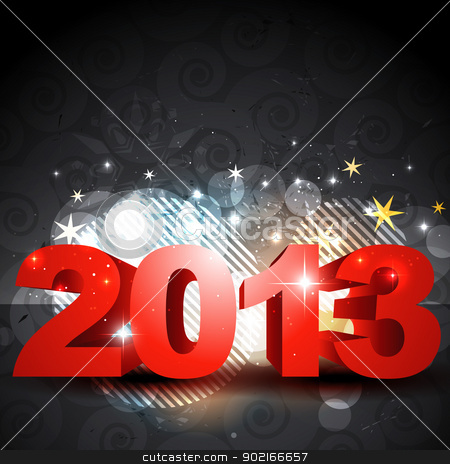 shiny new year design stock vector clipart, stylish shiny 2013 happy new year design by pinnacleanimates