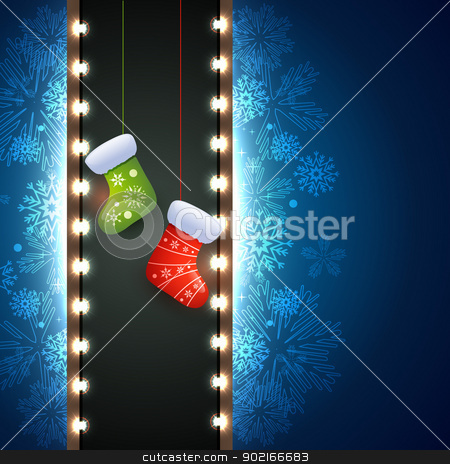 christmas socks stock vector clipart, christmas socks in beautiful artistic background by pinnacleanimates