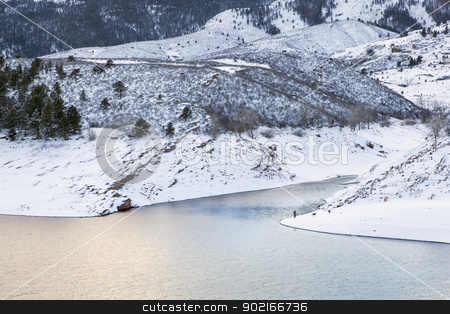 mountain lake at winter dusk stock photo, mountain lake at winter dusk - Horsetooth Reservoir near Fort Collins, Colorado, winter scenery by Marek Uliasz