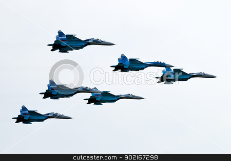 Six airplanes SU-27 stock photo, Team work of russian fighters SU-27 knights by Aikon