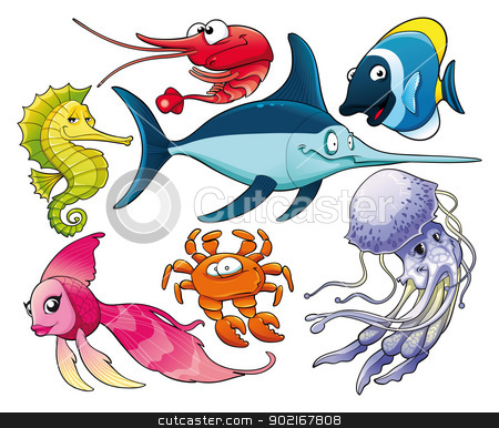 Marine life. stock vector clipart, Marine life. Isolated cartoon and vector characters. by ddraw