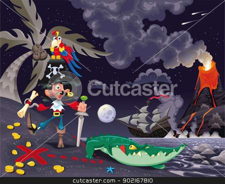 Pirate on the island in the night. stock vector clipart, Pirate on the island in the night. Funny cartoon and vector scene. by ddraw
