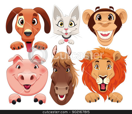 Animals portrait. stock vector clipart, Animals portrait. Funny cartoon and vector isolated characters. by ddraw