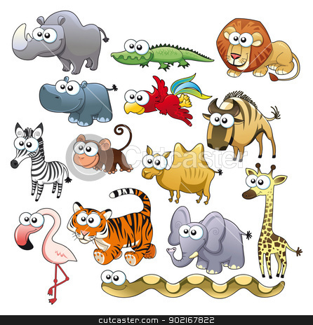 Savannah animal family. stock vector clipart, Savannah animal family. Funny cartoon and vector characters. by ddraw