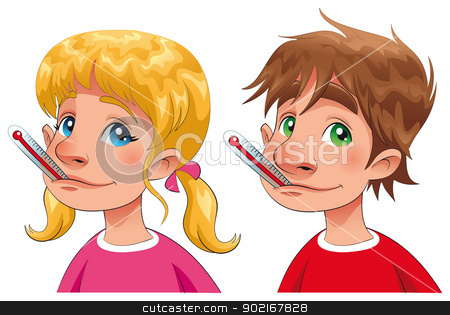 Boy and girl with thermometer. stock vector clipart, Boy and girl with thermometer. Cartoon and vector characters, isolated objects by ddraw
