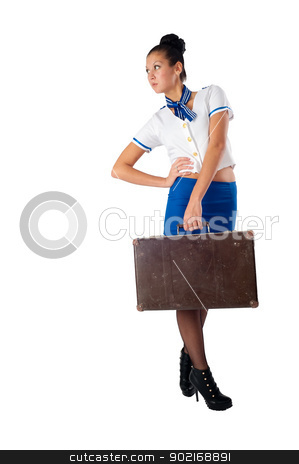 Young beautiful air hostess stock photo, Attractive young stewardess with old suitcase, isolated over white background by Aikon