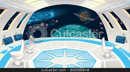 Spaceship interior.  stock vector clipart, Spaceship interior. Funny cartoon and vector illustration. by ddraw