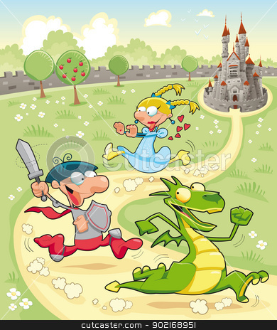 Dragon, Prince and Princess with background.  stock vector clipart, Dragon, Prince and Princess with background. Cartoon and vector scene. by ddraw