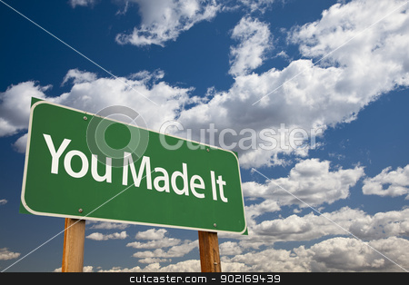 You Made It Green Road Sign stock photo, You Made It Green Road Sign Over Dramatic Clouds and Sky. by Andy Dean