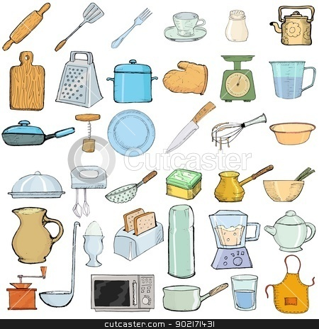 kitchen objects stock vector clipart, set of hand drawn, vector illustration of kitchen objects by Oleksandr Kovalenko