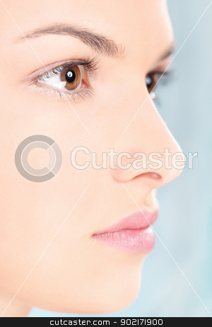 Clean skin woman stock photo, close up of a woman's face by iMarin