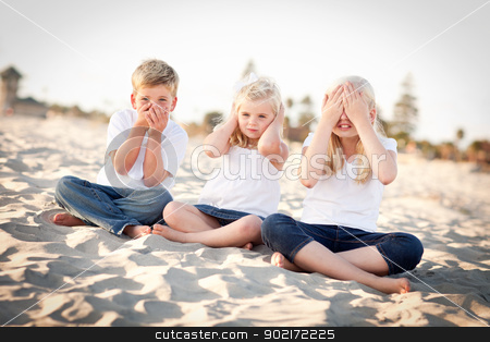 See, Hear and Speak No Evil Children Outside stock photo, See, Hear and Speak No Evil Posing Children Outside at the Beach. by Andy Dean