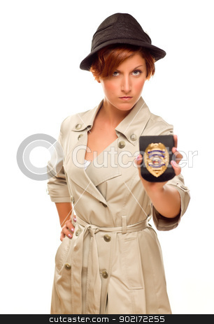 Female Detective With Official Badge In Trench Coat on White stock photo, Female Detective With Official Badge In Trench Coat Isolated on a White Background. by Andy Dean