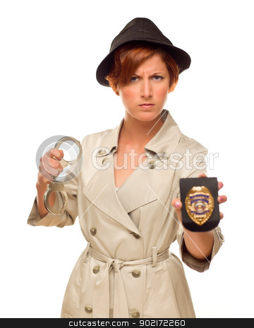 Female Detective With Handcuffs and Badge In Trench Coat stock photo, Attractive Female Detective With Handcuffs and Badge In Trench Coat Isolated on a White Background. by Andy Dean