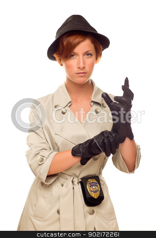 Female Detective With Badge and Gloves In Trench Coat on White stock photo, Attractive Female Detective With Badge and Leather Gloves In Trench Coat Isolated on a White Background. by Andy Dean