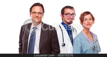 Friendly Male and Female Doctors with Businessman on White  stock photo, Friendly Young Male and Female Doctors with Businessman Isolated on a White Background. by Andy Dean