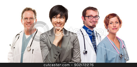 Young Mixed Race Woman with Doctors and Nurses Behind stock photo, Young Mixed Race Woman with Doctors and Nurses Behind Isolated on a White Background. by Andy Dean
