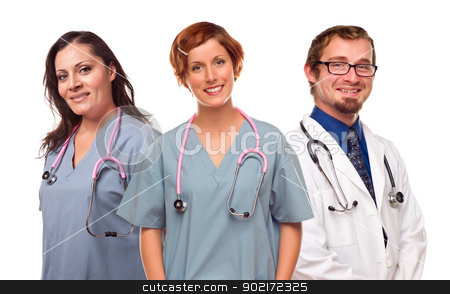Group of Smiling Male and Female Doctors or Nurses stock photo, Group of Smiling Male and Female Doctors or Nurses Isolated on a White Background. by Andy Dean
