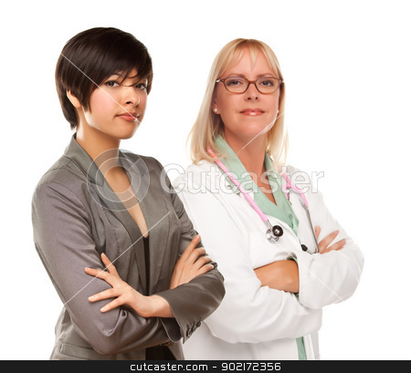 Young Mixed Race Woman with Female Doctor or Nurse on White stock photo, Attractive Young Multiethnic Woman with Female Doctor or Nurse Isolated on a White Background. by Andy Dean